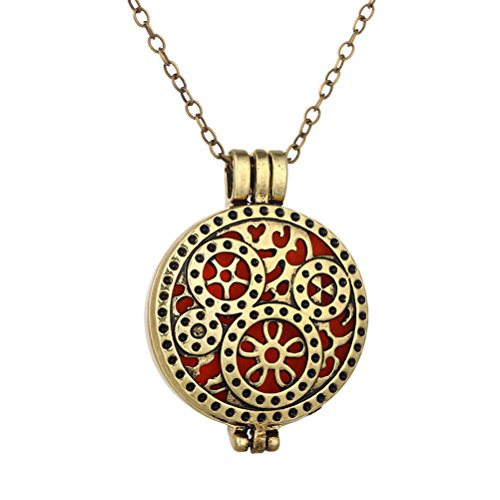 PAURO Jewelry Bronze Tone Steampunk Gear Aromatherapy Essential Oil Diffuser Locket Pendant Necklace