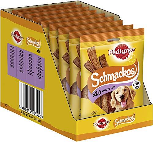 Pedigree Hundesnacks Hundeleckerli Schmackos 4 Sorten, 180 Stück (9 x 20 Stück)