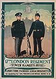 Vintage British Propaganda y Contratación 17th de Londres Regimiento TOWER HAMLETS RIFLES c1930 250gsm ART Tarjeta de brillante A3 de póster