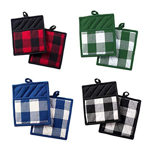 Camisin Paquete de 8 soportes de bolsillo de algodón para cocina, soportes para ollas de horno con bolsillos, juego de posavasos de algodón resistente al calor
