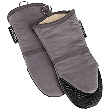 Cuisinart Oven Mitt with Non-Slip Silicone Grip, Heat Resistant to 500° F, Grey, 2-Pack