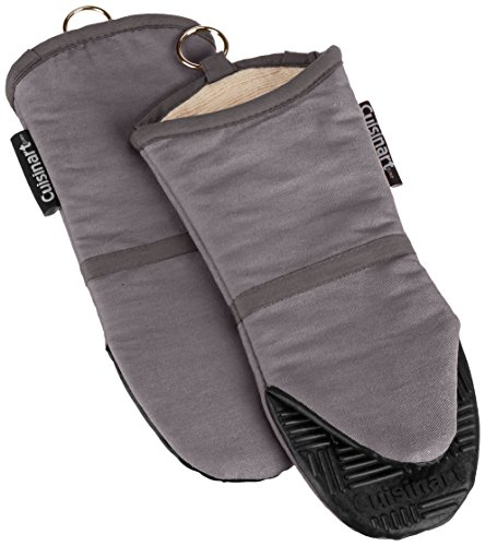 Cuisinart Silicone Oven Mitts, 2 Pack – Heat Resistant to 500 Degrees – Handle Hot Kitchen Items Safely – Non-Slip Silicone Grip Oven Gloves with Insulated Deep Pockets and Hanging Loop – Grey