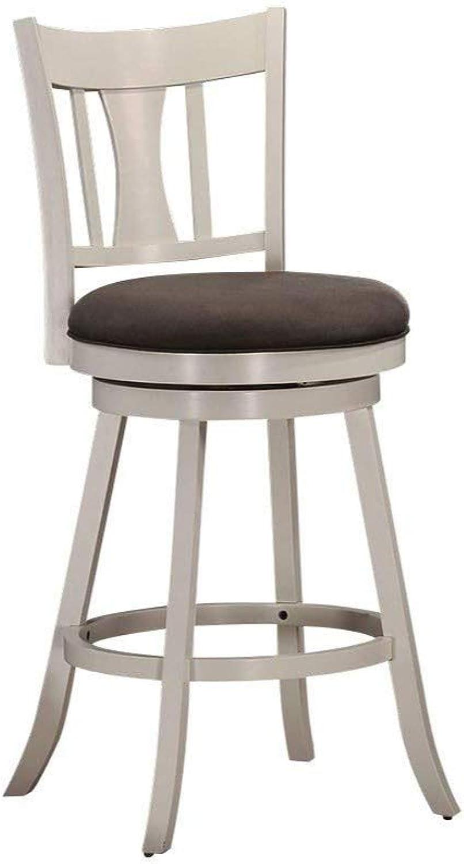 Benzara BM185357 Wooden Bar Chair with Swivel Mechanism, White