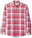 Amazon Essentials - Camicia da uomo a maniche lunghe in lino, a quadretti, vestibilità standard, Red Plaid, US XS (EU XS)
