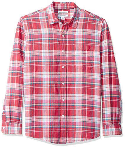 Amazon Essentials, Herren-Langarmhemd aus Leinen, normale Passform, Red Plaid, US M (EU M)