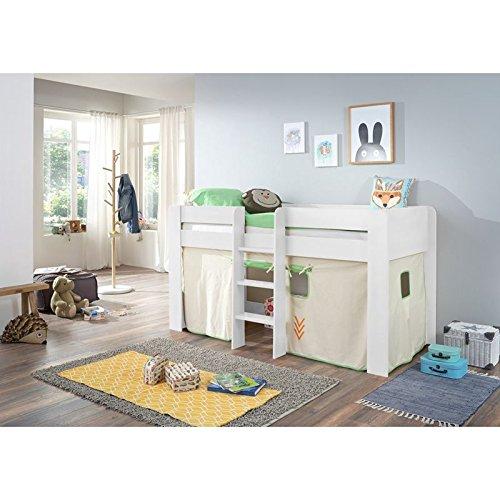 Relita Halbhohes Kinderbett in weiß Nachbildung ● inkl. Leiter und Textilset ● Spielbett mit 90x200cm Liegefläche