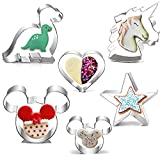 Cofe-BY Cookie Cutter for Kids Food, Cartoon Mickey Mouse Unicorn Dinosaur Heart Star Shaped Stainless Steel Cutters Molds for Cake Biscuits Sandwiches Bento Box DIY Baking Kits ( 6PCs/set )