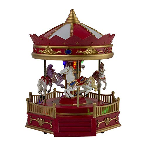Northlight 9.25' Red LED Lighted and Musical Rotating Christmas Carousel