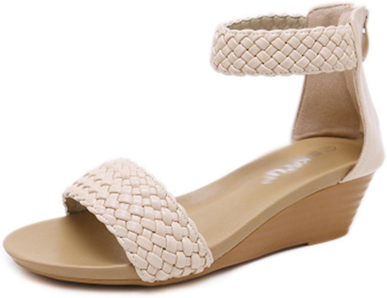 GIY Women's Bohemian Wedges Platform Sandals Open Toe Ankle Strap Zipper Casual Chunky High Heel Sandals