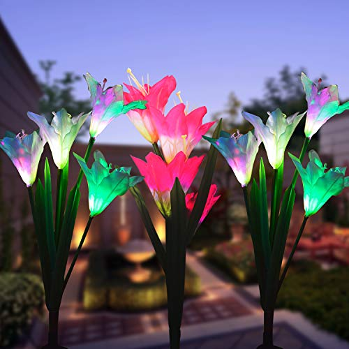 Wohome Garden Solar Lights Outdoor, 3 Pack Solar Stake Lights Multi-Color Changing LED, Fiber Optic Decorative Lights with a Purple LED Light Stake (Solar Flower Lights)