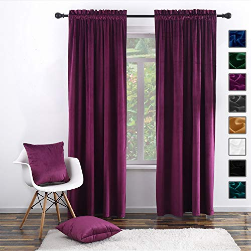 "Twin Six Super Soft Blackout Velvet Curtains with 2 Pillow Case,Thermal Insulated Solid Heavy Rod Pocket Window Drapes for Living Room (Plum, 52""x96"",2 Panels)"