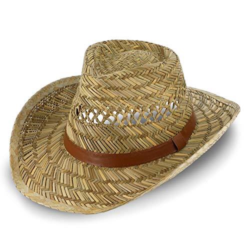 fiebig Australier Strohhut für Damen & Herren | Luftiger Cowboyhut aus Stroh | Westernhut mit Kunstlederband für Frühling & Sommer | Sonnenhut mit Einfass in vielen Größen (58)