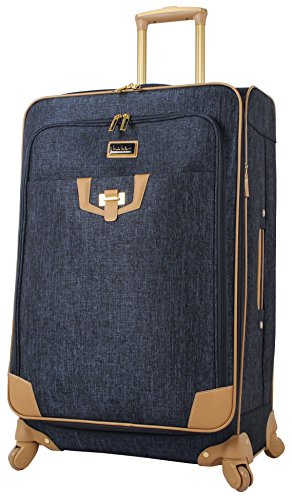 Nicole Miller Designer Luggage Collection - Expandable 24 Inch Softside Bag - Durable Mid-sized Lightweight Checked Suitcase with 4-Rolling Spinner Wheels (Paige Navy)