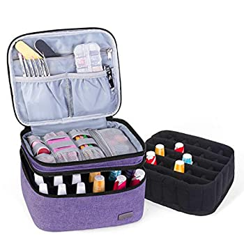 Luxja Nail Polish Carrying Case - Holds 20 Bottles  15ml - 0.5 fl.oz  Portable Organizer Bag for Nail Polish and Manicure Set Purple