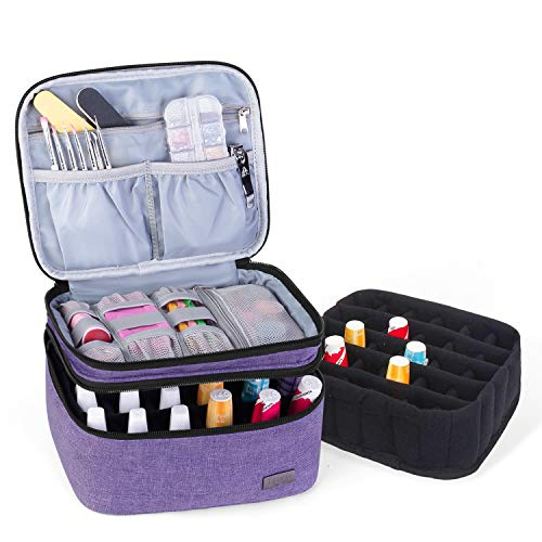 Luxja Nail Polish Carrying Case - Holds 20 Bottles (15ml - 0.5 fl.oz), Portable Organizer Bag for Nail Polish and Manicure Set, Purple