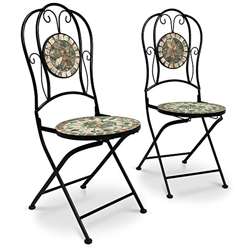 Deuba Mosaikstühle Malaga 2er Set Klappbar Sitzhöhe 45cm Metall Stabil Mosaik Balkonstühle Gartenstuhl Klappstuhl