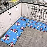 Juego de 2 alfombrillas de cocina, diseño de pingüinos sin costuras, linda alfombra de Navidad, muy suave, de franela, antideslizante, lavable, juego de alfombras de baño