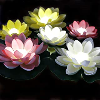 LACGO Waterproof Floating LED Lotus Light, Battery Operated Mixed Colors Lily with Bright White LEDs, Flower Night Lamp for Pool, Fish Tank, Wedding Party Decor(White LED Light, Pack of 6)