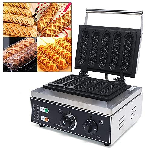 Gofrera de perritos calientes, 1500 W, eléctrica, antiadherente, de acero inoxidable, para panaderías, restaurantes, quioscos, cantinas