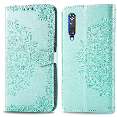 Bear Village Hülle für Xiaomi MI 9 SE, PU Lederhülle Handyhülle für Xiaomi MI 9 SE, Brieftasche Kratzfestes Magnet Handytasche mit Kartenfach, Grün