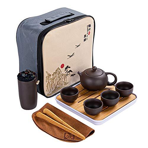 JEANN-AZCX Arcilla púrpura Hecho a Mano Chino Juego de té de Viaje Juego de Regalo de té del Estilo de la Tetera Tazas de té Tradicional Yixing teteras Tetera Kungfu portátil de China