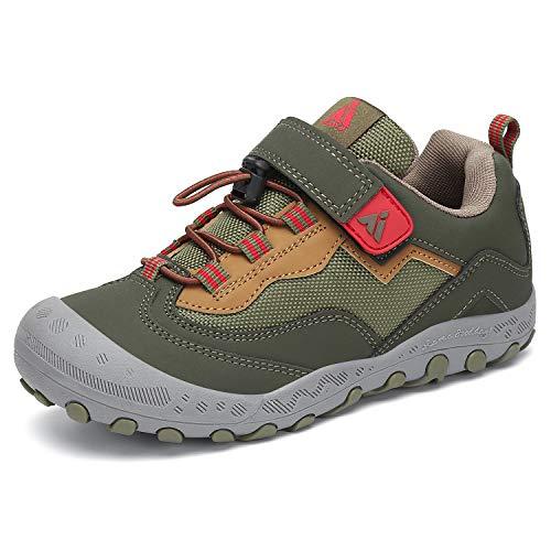 Mishansha Outdoor Kid's Hiking Shoes Sneakers Durable Wide Boys Walking Tennis Trail Shoe Green Little Kid 2