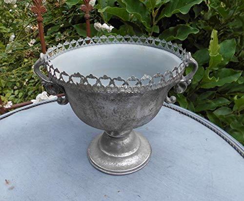 Deko-Impression Übertopf Amphore Pflanztopf Vase Pokal Kelch Eisen Antik-Silber-Patina