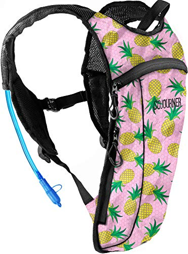 Sojourner Rave Hydration Pack Backpack  2L Water Bladder Included for Festivals Raves Hiking Biking Climbing Running and More Small Pineapple