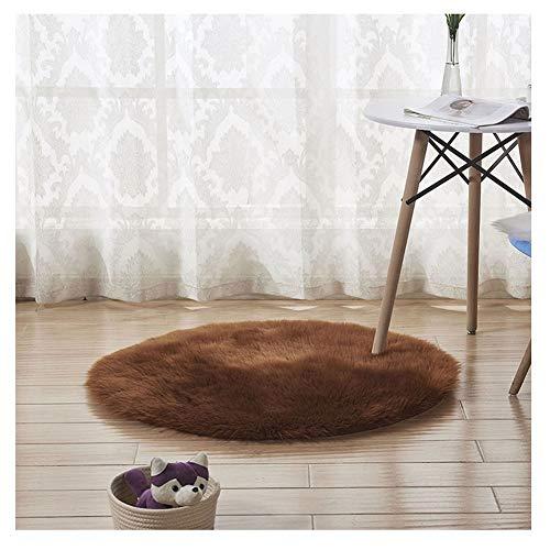 DaiHan Tapis Rond en Fausse Fourrure,Cozy Sensation comme véritable Laine Tapis, Man-Made Luxe Laine Tapis de Canapé Coussin café 120 * 120cm