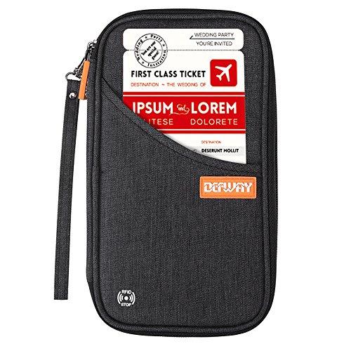 DEFWAY Family Passport Holder Waterproof RFID Blocking Credit Card Organizer Travel Document Bag with Strap(Black)