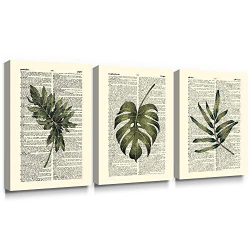 Summar - Grande Tela Artistica da Parete per Soggiorno, Stampa Vintage con Foglie Verdi Tropicali, 40 x 60 cm, 3 Pezzi