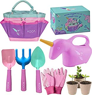 ROCA Home Kids Gardening Tools with Kids Gardening Gloves and Unicorn Watering Can- Unicorn Gifts for Girls – STEM Outdoor...