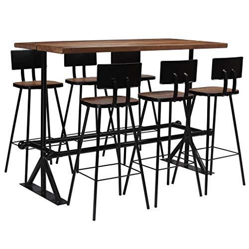Festnight Bartisch Set 7-teilig   Stehtisch mit Stühlen   Küchenbartisch mit 6 Barhocker   Bistrotisch mit Stühlen Set   Tresentisch mit Barhocker   Massives Altholz und Stahlrahmen