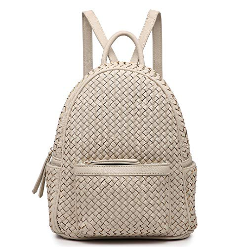 Women Backpack Purse Woven Trendy Stylish Casual Dayback Handbag (Small, Tan)