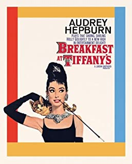 Audrey Hepburn Breakfast at Tiffany's Cat Classic Hollywood Movie Actress Celebrity Poster Print 16x20