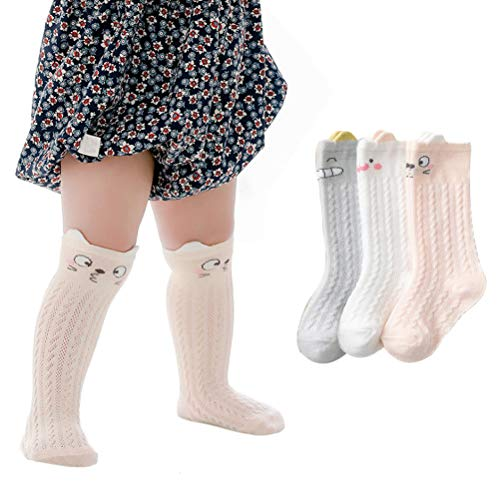 XM-Amigo 3 Paar Unisex-Babysocken, weiche Strümpfe, hohe Kniestrümpfe elastisch für Neugeborene Mesh-Loch Baumwolle niedlich bunt atmungsaktiv