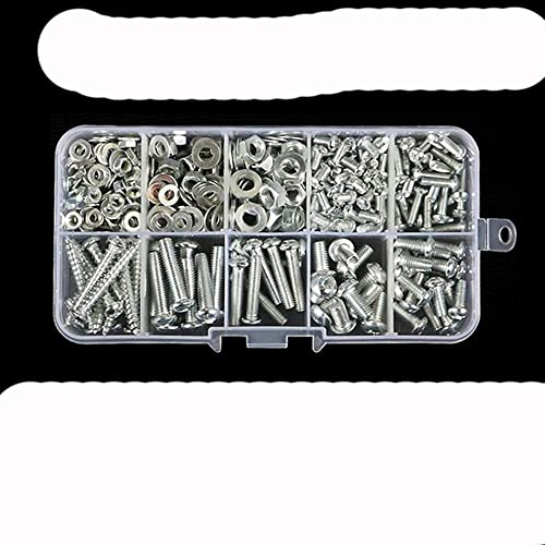 Juego de tornillos autorroscantes Tornillo de acero inoxidable 304 con cabeza redonda, tornillo de diente de máquina en cruz, tuerca hexagonal, tuerca 316, tapón de rosca, juego-4