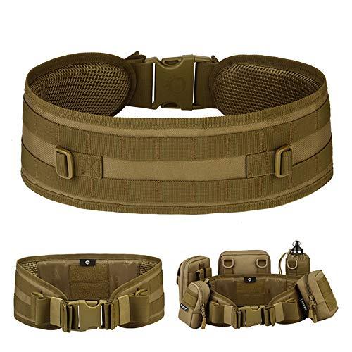 HUNTVP® Cinturone Molle Cintura Tattica Militare Imbottita per Softair Caccia Outdoor Trekking, Marrone
