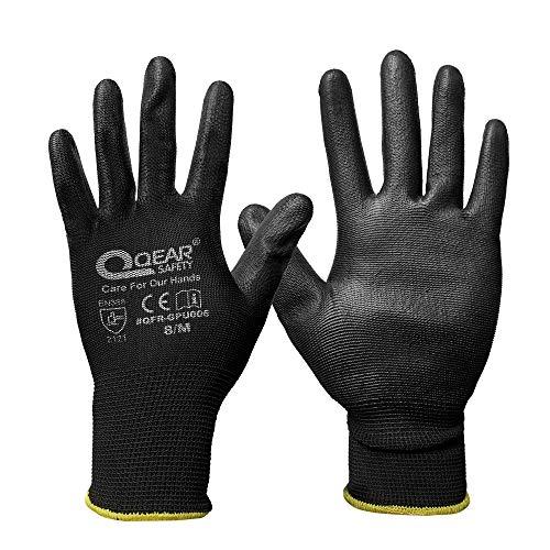 12 paia di guanti di sicurezza da lavoro rivestiti con palmo in PU, fodera lavorata a maglia, multifunzione, leggera, sottile e traspirante (9/L, nero)