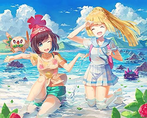 Pokemon Pikachu Anime Japón Dibujos animados Pintura por Números para Adultos y niños Pintar Diy al óleo de Bricolajecon Personalizado Kit con Pinceles 40X50CM Principiantes Lienzo Decoraciones sin