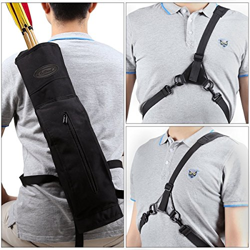 G4Free Archery Deluxe Canvas Back Arrow Quiver Shooting Hunting Target Arrow Holder Bag