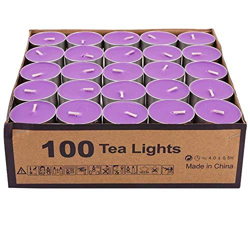 DICSVL New Household Aromatherapy Tea Stove Small Candle Round Mini Birthday Smokeless Tea Wax Set Romantic Candles Tea Lights for Hotel Heating (100)