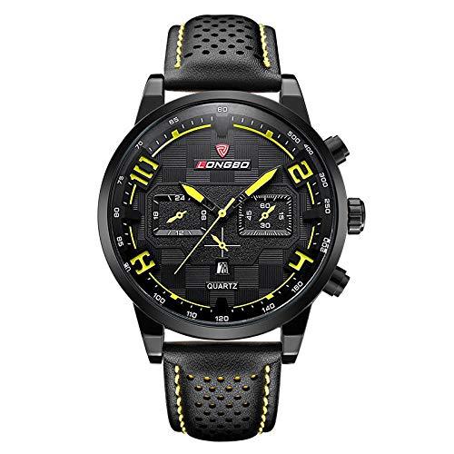 Haonb Herrenuhren Sport Quarzuhr Modetrend Gürtel Uhr,Schwarzes Gesicht Gelben Nagel