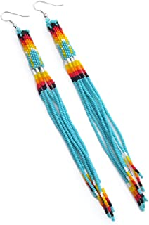 One of a kind Tribal Extra Long Beaded Statement Earrings Handmade