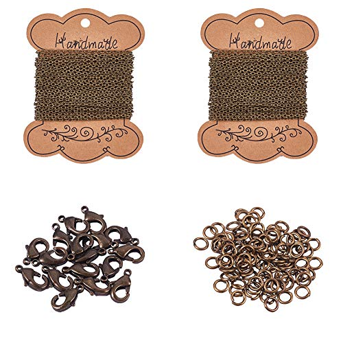 PandaHall Elite 2 Sheets 5m/sheet Iron Twisted Chains Curb Chains Necklaces with 100 pcs 4mm Jump Rings and 20 pcs Brass Lobster Claw Clasps for DIY Jewelry Making, Antique Bronze