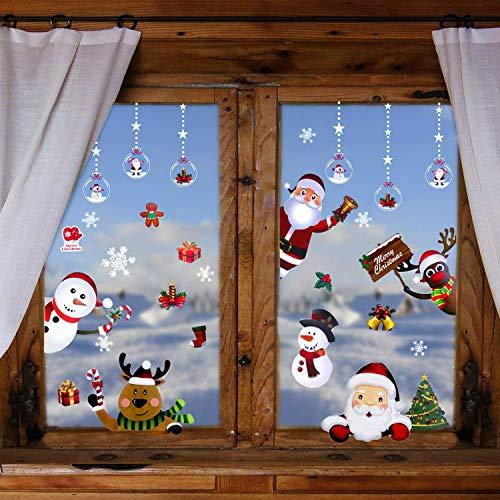 Herefun Weihnachten Fenstersticker, Wiederverwendbar Weihnachtsdekoration Fensteraufkleber, Schneeflocken Weihnachtsmann Elch Schneemann für Weihnachten Fensterdeko Selbstklebend (8pcs-D)