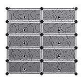 10-Cube Modular Shoe Rack Shelving Stand Cabinet Closet Storage Organizer Holder