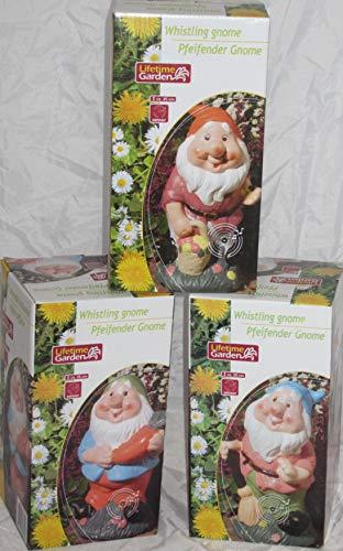 1x Gartenzwerg Zwerg GNOM PFEIFEND mit BEWEGUNGSMELDER 25CM Gartendeko Terrassen Deko Garten