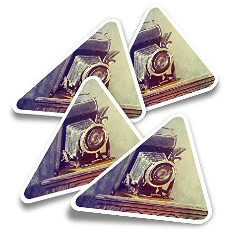 Pegatinas triangulares de vinilo (juego de 4) – Vintage Camera Photography Photo Retro Fun Calcomanías para ordenadores portátiles, tabletas, equipajes, reservas, neveras #24384