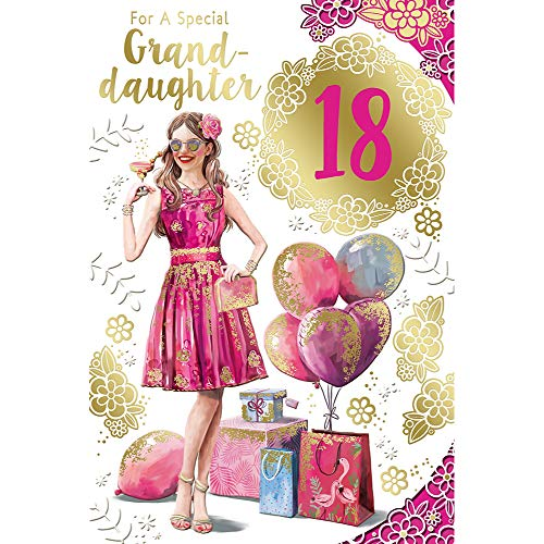 for a Special Granddaughter 18th Birthday Celebrity Style Greeting Card